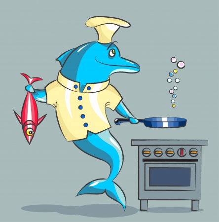 The smiling dolphin - the cook, in a kitchen uniform prepares fish Vector