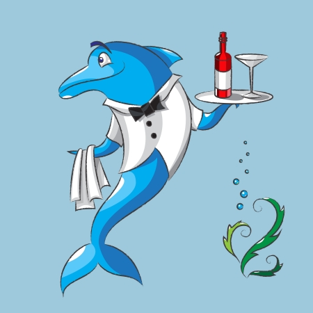 The amusing dolphin is the waiter keeps in one fin a napkin, and in other fin a tray with a bottle of wine and a wine glass Illustration