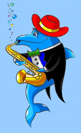 dress coat: The lovely dolphin in a hat and a dress coat plays a saxophone