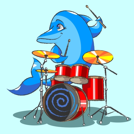 The cheerful, blue dolphin plays on red drums