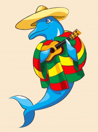 The cheerful dolphin in a sombrero and color Mexican clothes plays a guitar