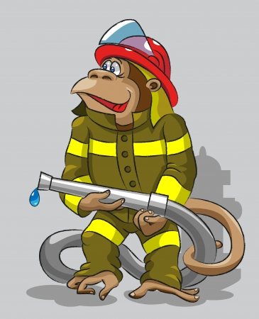 The cheerful monkey is dressed in   a protective form of the   firefighter, keeps in its hands a   fire hose Vector
