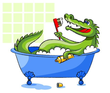health cartoons: The green, smiling crocodile lies in a bathtub and holds a toothbrush and a tube with a toothpaste. Illustration