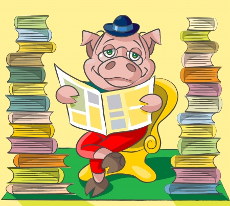 The clever pig wearing spectacles sits at a armchair between two tower from books and reads the newspaper