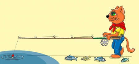 The red kitten catches fish in a pond with a rod Vector