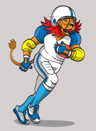 The furious lion in the form of the football player runs with a ball