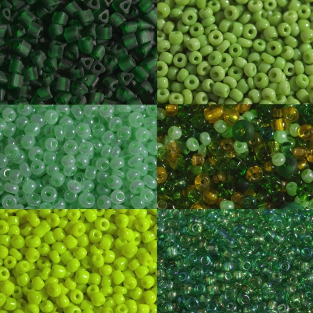 Six options of a shade and the   size of green beads are   photographed very largely photo