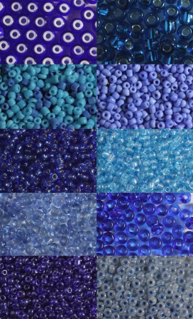 Ten options of a shade and size  blue beads it is photographed   very largely