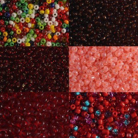 Six options of a shade and size red beads it is photographed very largely