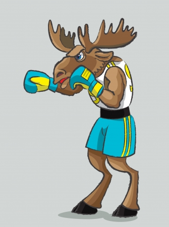 The mighty elk is in a boxing form and gloves