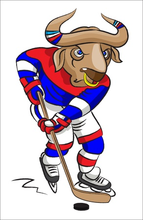 The terrible buffalo - the hockey player in a hockey form conducts a  puck with a hockey stick