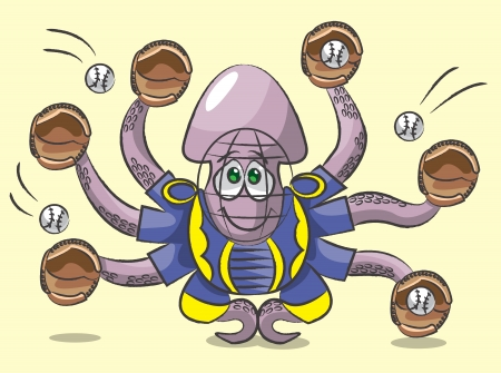 The octopus catches with six feelers   in a gloves five balls