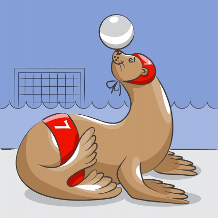The seal in a hat and swimming trunks is on the edge of the pool and holds a ball on a nose