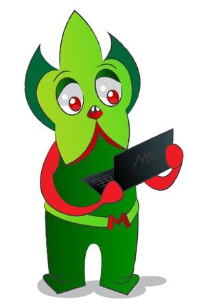 feelers: El monstruo verde sorprendida con un ordenador port�til en antenas, es rellenos de degradado Vectores