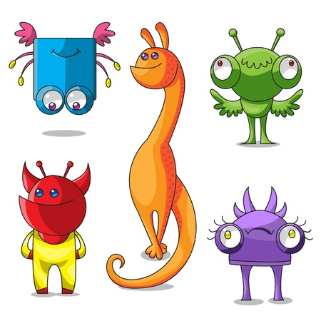 Five cheerful multi-colored monsters have different emotions