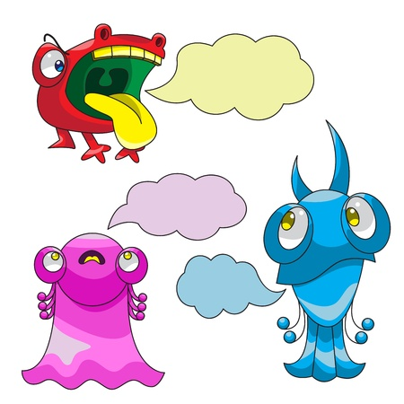 Emotions of fear, doubt and anger are  in the form of three colorful monsters with clouds for the text