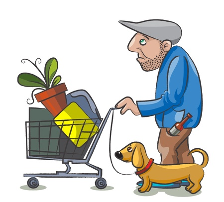 The homeless drunkard pushes the supermarket cart with his things and  his dog run near him Illustration