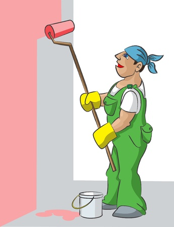 The man in a uniform paints with the roller a wall houses in pink color.