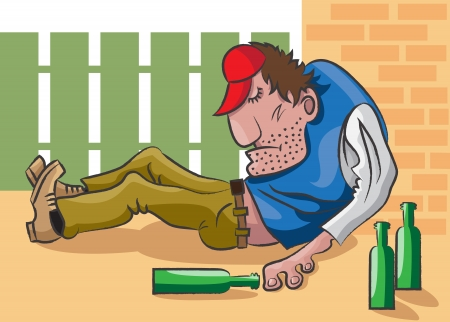 drunkard: The adult man lies on the street in an unconsciousness and near him are empty bottles from under alcohol