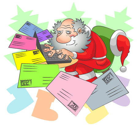 Santa Claus sits at a laptop and receives letters of different color by e-mail Illustration