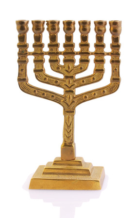 The Judaic religious oil lamp from gold is on a white background Stock Photo
