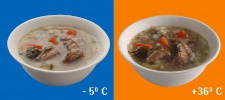 Traditional Russian soup with pickles which can be given and in cold and hot on orange and blue backgrounds