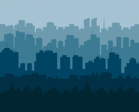 Five levels of silhouettes of the city in different shades of the blue