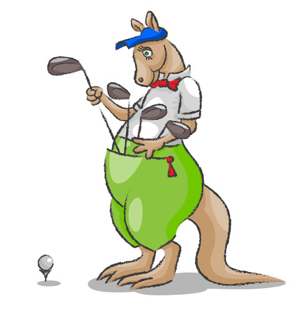 kepi: The big kangaroo with a tie and a kepi chooses stick golf which are at it in a bag and to be going to make blow to a ball Illustration