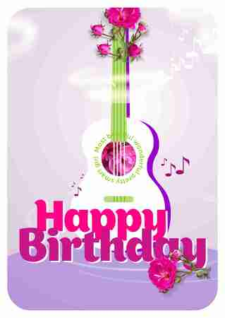 melody: Melody of guitar with flowers for Happy birthday