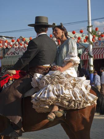 flemish: April fair, horseback riders, Seville, Spain Editorial
