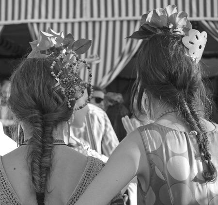 flemish: April fair, women, Seville, Spain Stock Photo