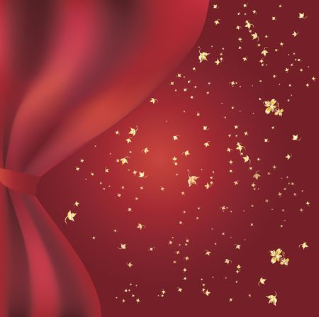 Drawing of a red curtain opening a gradient red background with golden stars Stock Photo - 4068213