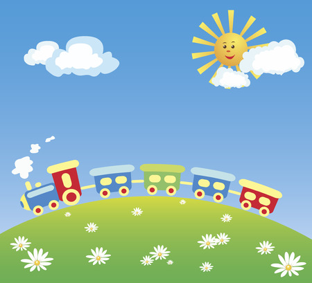 A vector illustration of a steam train running on the hill. Compositions contains a steam engine with several cars, daisies on a green hill, and a blue sky with yellow sun and white clouds