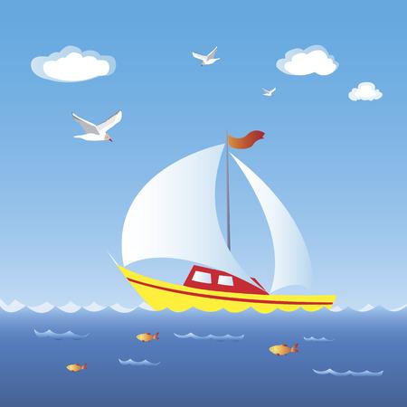 deportes nauticos: Un velero de pasar a toda velocidad en el mar azul