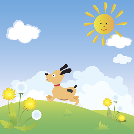 Happy dog is running fast Vector