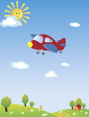 A drawing of an airplane flying high in the blue sky with the yellow sun and blue clouds, a dog running underneath on the hill with green trees and a small house. From the KidColors series. Stock Photo - 4368703