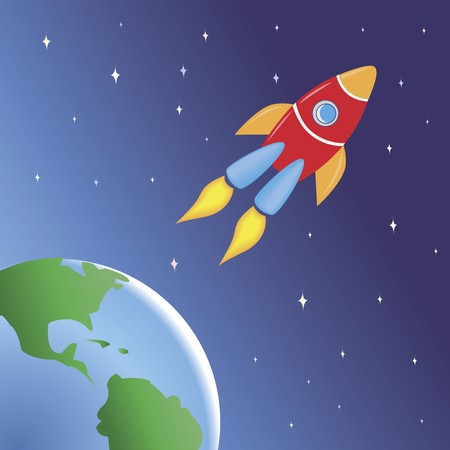 Children-style drawing of a rocket flying in spice out of the Earth. From the KidColors series. Stock Photo - 4368702