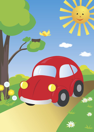 daisy wheel: Little cute red car on a country road in a beautiful environment Illustration