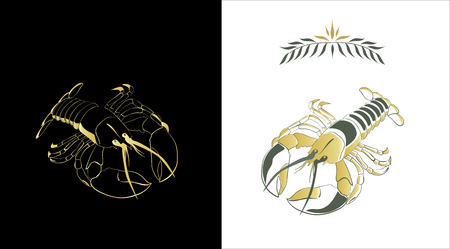 Two stylized sketches of a lobster in gold and dark green colors on white and black background. Contour of a lobster and a fill can be easily separated from a background. Vector