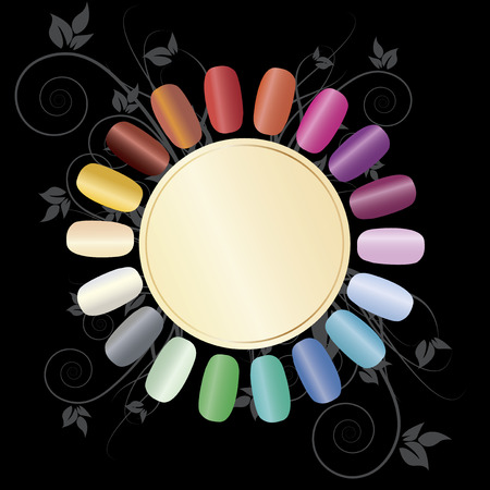 Colorful nails arranged in a circle to demonstrate a variety of colors.  Black background in decorated with exquisite flowers.