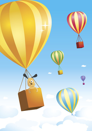 Cute little doggie is taking a trip on a colorful hot air balloon. Other balloons are flying in the air on the background. From KidColors series. Vector