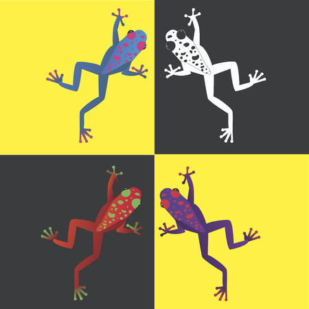 futuristic nature: Four brightly colored frogs on a contrast background. Feel a vibrancy of color!