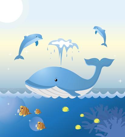 Una ballena y dos delfines están jugando en el mar. Coloridos peces tropicales nadan por debajo. De KidColors serie.