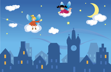 Two little fairies are holding golden shining stars. They are sitting on clouds flowing in the night sky. Moon and stars are shining bright in the dark blue sky. A sleeping  city lies beneath. Stock Vector - 4742507