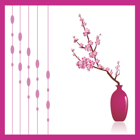 japanese garden: Cherry tree blossoms, a beautiful spring flower in a pink against white background. Decorative ornament to the left can be turned off to make copy space.