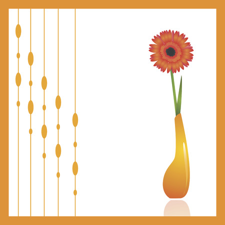 orange gerbera: Gerbera (African daisy), a beautiful spring flower in an orange vase against white background. Decorative ornament to the left can be turned off to make copy space.