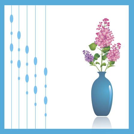 Lilac, a beautiful spring flower in a green vase against white background. Decorative ornament to the left can be turned off to make copy space.