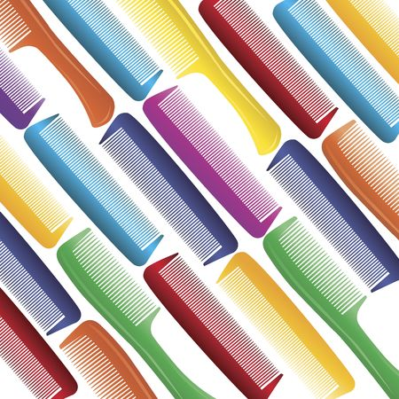 Variety of combs in vivid colors on a white background