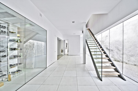 upstairs: Spacious hall with wood upstairs