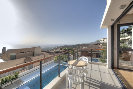 balcony: Balcony with sea view on the modern villa Stock Photo